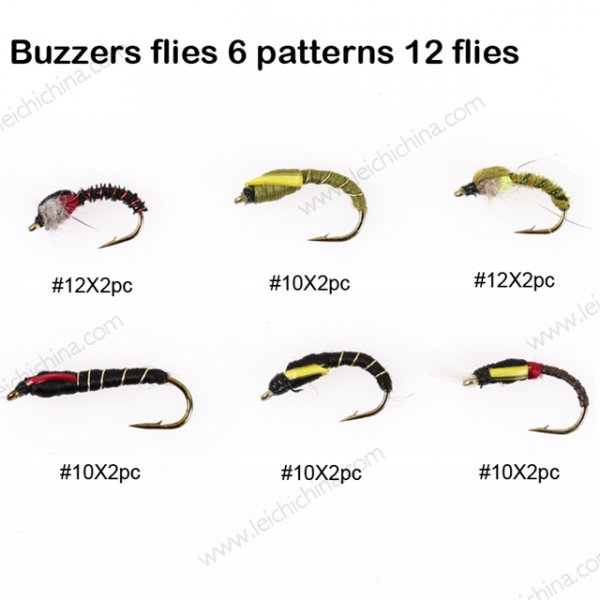 Buzzers flies 6 patterns 12 flies