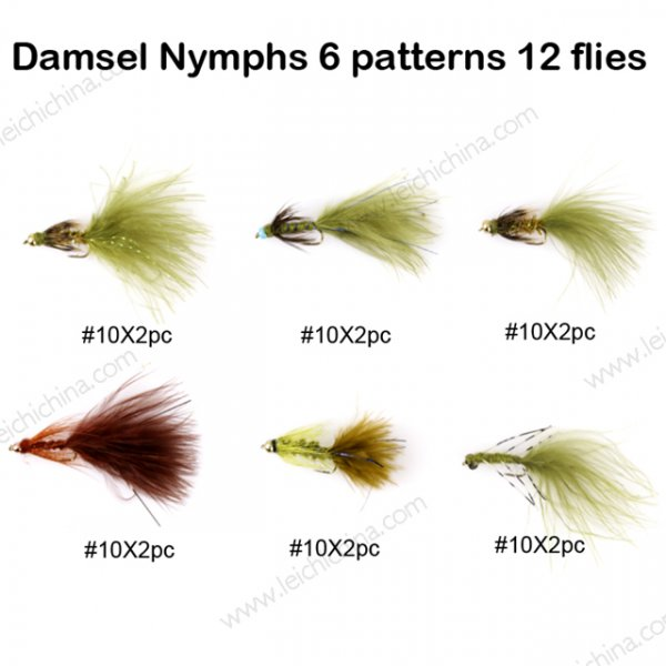 Damsel Nymphs 6 patterns 12 flies