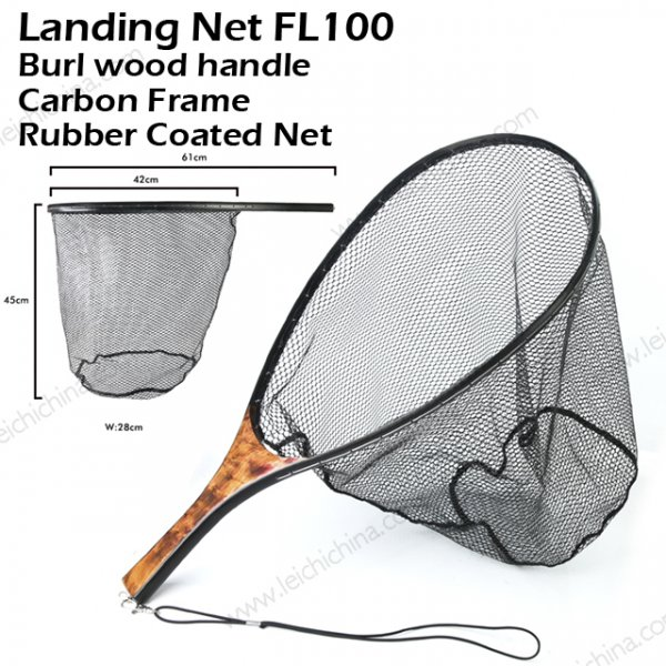 Carbon Frame Burl wood Handle landing net FL100