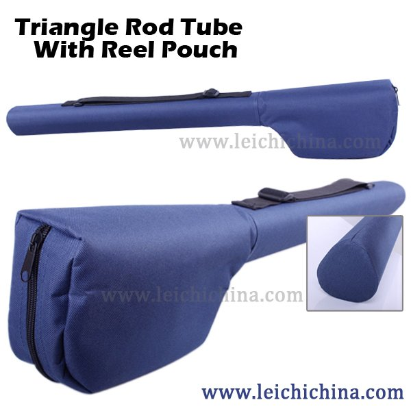 Triangle fly rod tube with reel pouch