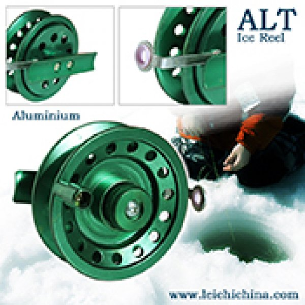 Machine cut ice fishing reel ALT