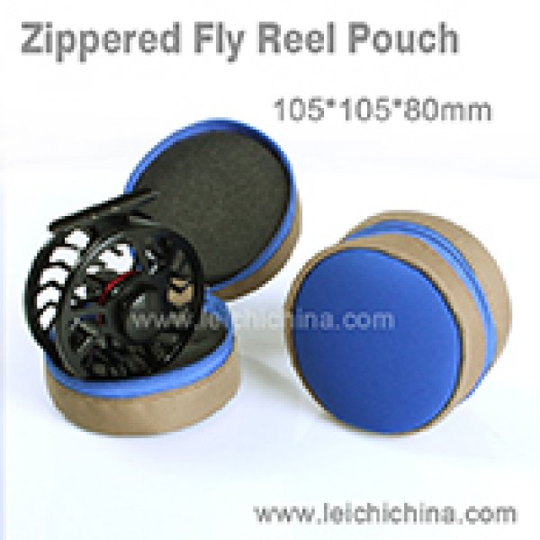 Zippered fly reel pouch