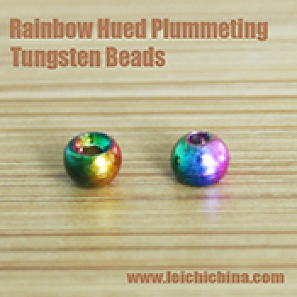 Rainbow Hued Plummeting Tungsten Beads