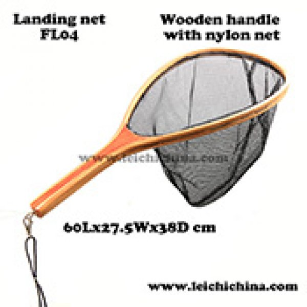 Quality wooden frame nylon net fly fishing landing net FL04