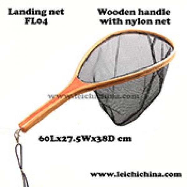Quality wooden frame nylon net fly fishing landing net FL04