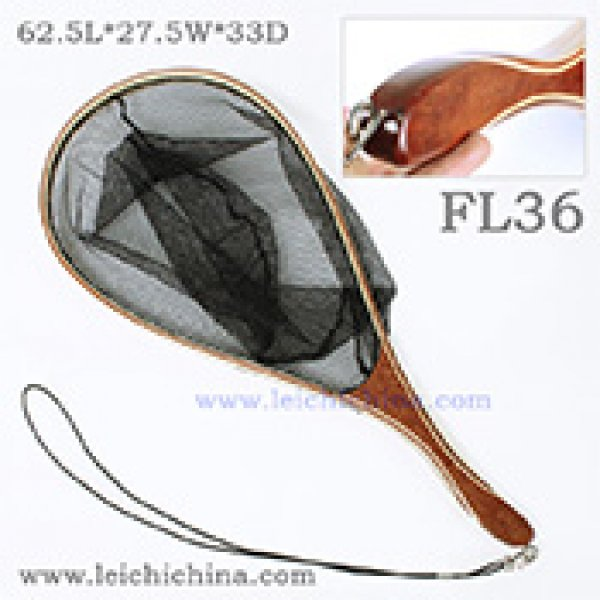 Hand-fitting handle wooden fishing trout net FL36