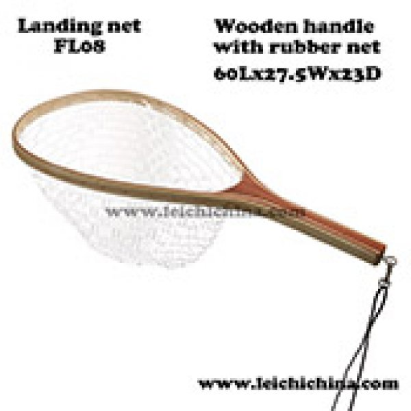 quality wood frame rubber net landing net FL08