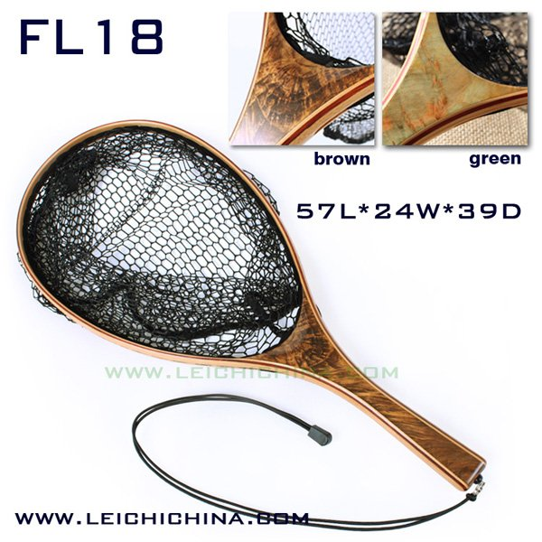 Top quality burl wood hand fly fishing Landing net FL18