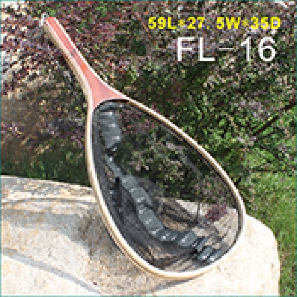 Wooden frame nylon net landing net with bottom ruler FL-16