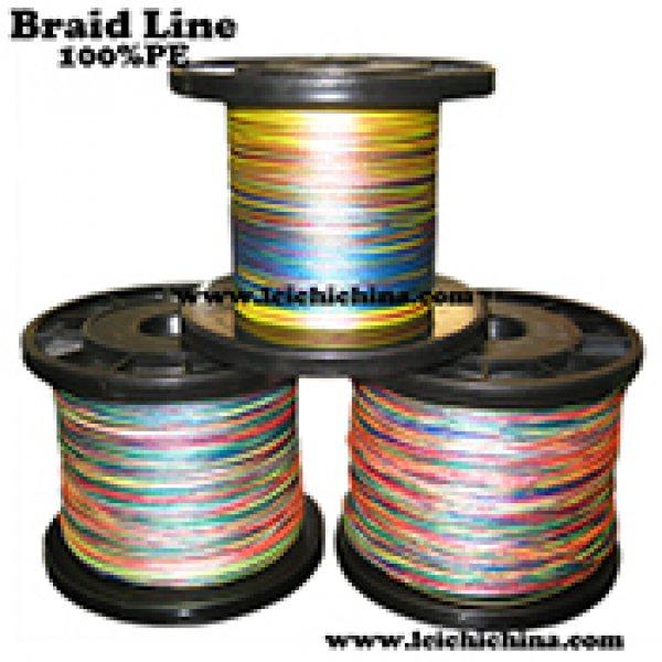 Multi color 100% PE braided fishing line