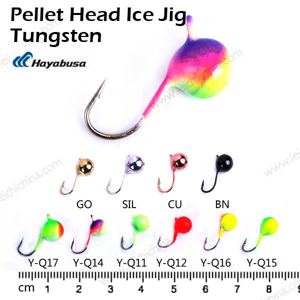 Tungsten ice fishing pellet head ice jig