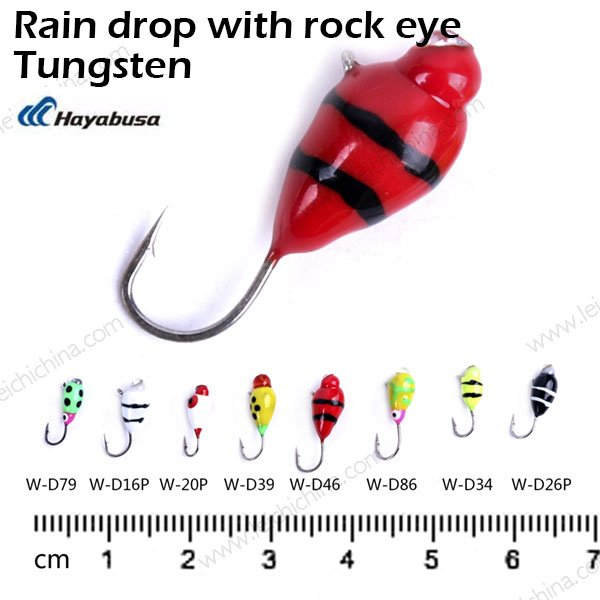 Tungsten ice fishing jig Rain drop with rock eye