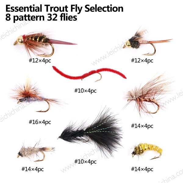 Essential trout flies selection
