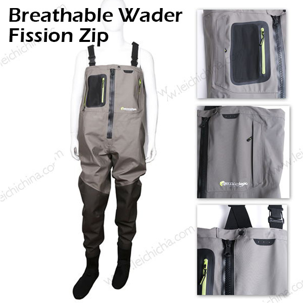 Breathable wader fission zip